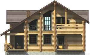 Дом из бревна П-0471 Фасад 1