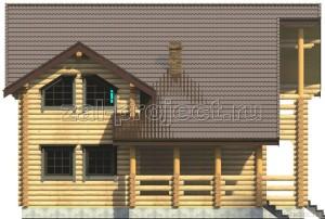 Дом из бревна П-0471 Фасад 3