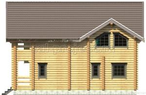 Дом из бревна П-0471 Фасад 4