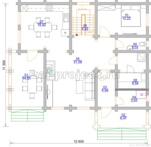 Дом из бревна П-0471 План 1-го этажа