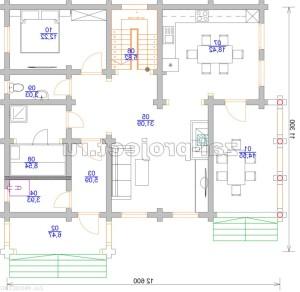 Дом из бревна П-0471 План 1-го этажа - зеркальный