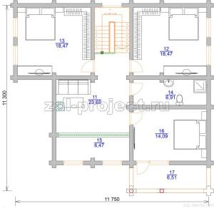 Дом из бревна П-0471 План 2-го этажа