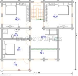 Дом из бревна П-0471 План 2-го этажа - зеркальный