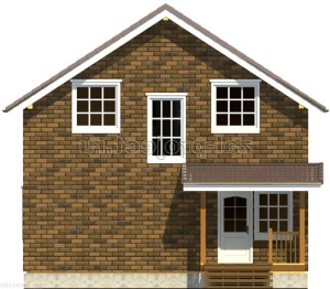 Каркасные дома Пк-002 фасад 4 зеркало