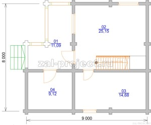Проект бани из бревна П-048 План 1-го этажа