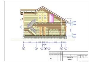 Пример проекта дома из бруса Разрез Р-1