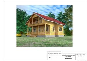 Пример проекта дома из бруса - общий вид 1