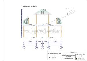 Пример проекта дома из бруса - Порядовка по оси А