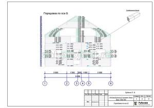 Пример проекта дома из бруса - Порядовка по оси Б