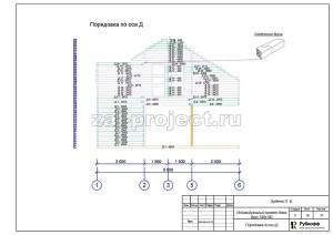Пример проекта дома из бруса - Порядовка по оси Д