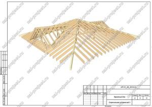 Пример проекта каркасного дома Стропильная система вид 1