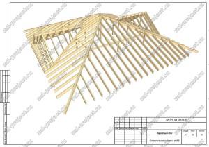 Пример проекта каркасного дома Стропильная система вид 2
