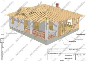 Пример проекта каркасного дома Каркас общий вид