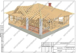 Пример проекта каркасного дома Каркас общий вид 1
