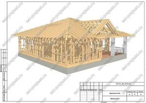 Пример проекта каркасного дома Каркас общий вид 2