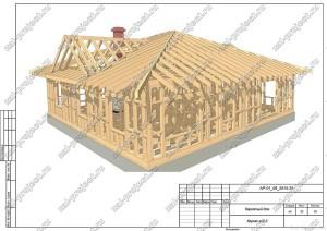 Пример проекта каркасного дома Каркас общий вид 3