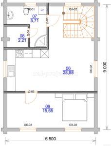 Гостевой дом план 2-го этажа
