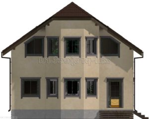 Каркасный дом Пк-003 Фасад 2 зеркальный