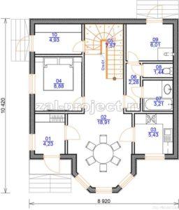 Каркасный дом Пк-003 план 1-го этажа
