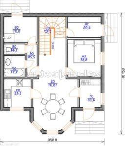 Каркасный дом Пк-003 план 1-го этажа зеркальный