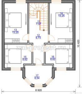 Каркасный дом Пк-003 план 2-го этажа