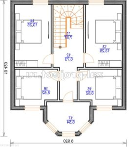 Каркасный дом Пк-003 план 2-го этажа зеркальный