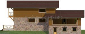 Каркасные дома Пк-004 фасад 2 зеркальный