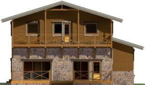 Каркасные дома Пк-004 фасад 3 зеркальный