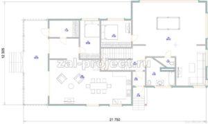 Каркасные дома Пк-004 План 1-го этажа