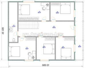 Каркасные дома Пк-004 план 2-го этажа зеркальный