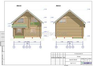 Вид 1-5; 5-1 пример проекта дома из клееного бруса
