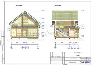 Разрез Р-1; Р-2 пример проекта дома из клееного бруса