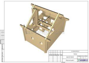 Общий вид сруба 1 пример проекта дома из клееного бруса