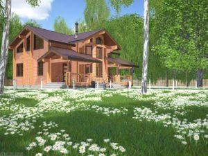Проект дома из клееного бруса Пб-003 - зеркальный
