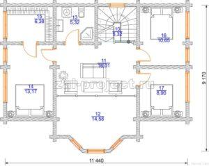 Проект дома из клееного бруса Пб-003 План 2-го этажа