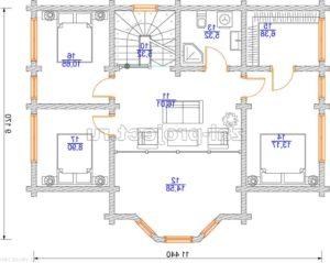 Проект дома из клееного бруса Пб-003 План 2-го этажа зеркальный