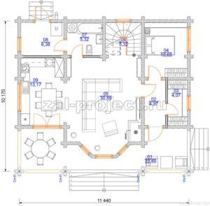 Проект дома из клееного бруса Пб-003 План 1-го этажа