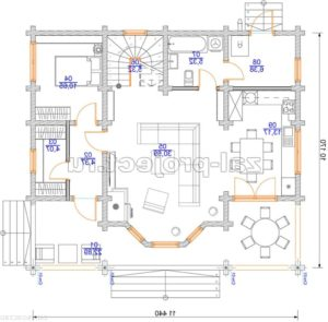 Проект дома из клееного бруса Пб-003 План 1-го этажа зеркальный