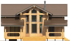 Проект дома из клееного бруса Пб-003 Фасад 1