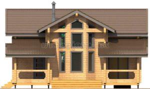 Проект дома из клееного бруса Пб-003 Фасад 1 зеркальный