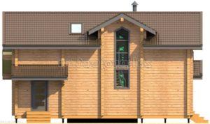 Проект дома из клееного бруса Пб-003 Фасад 2 зеркальный
