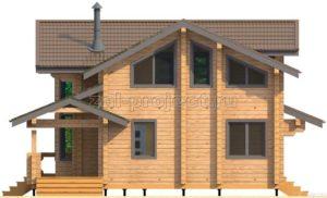 Проект дома из клееного бруса Пб-003 Фасад 3
