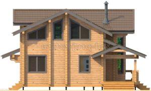Проект дома из клееного бруса Пб-003 Фасад 3 зеркальный