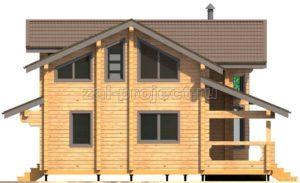 Проект дома из клееного бруса Пб-003 Фасад 4