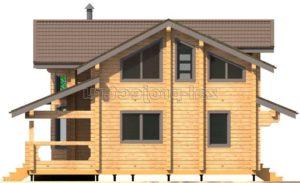 Проект дома из клееного бруса Пб-003 Фасад 4 зеркальный