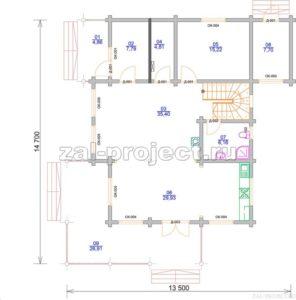 Проект дома из клееного бруса Пб-004 План 1-го этажа