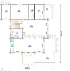 Проект дома из клееного бруса Пб-004 План 1-го этажа зеркальный