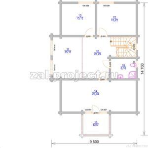 Проект дома из клееного бруса Пб-004 План 2-го этажа