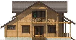 Проект дома из клееного бруса Пб-004 Фасад 1 зеркальный