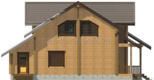 Проект дома из клееного бруса Пб-004 Фасад 2